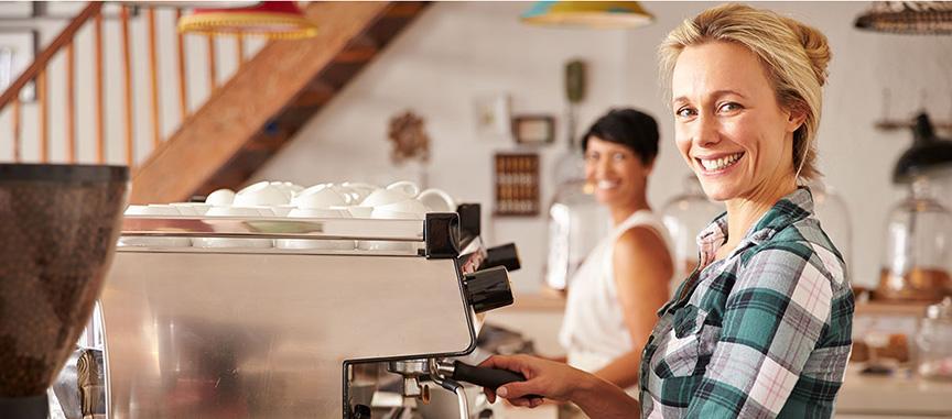 Coffee Shop owner making coffee