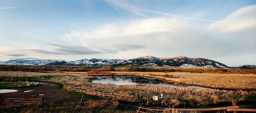 View of the Bridger Mountain Range in Bozeman, Montana