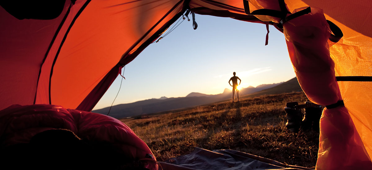 View of a Montana sunrise from a camping tent